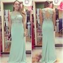 Mint Green Jewel Neck Beaded Applique Keyhole Chiffon Prom Dress