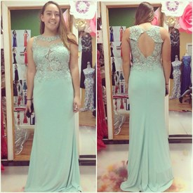 Mint Green Jewel Neck Beaded Applique Keyhole Chiffon Prom Dress