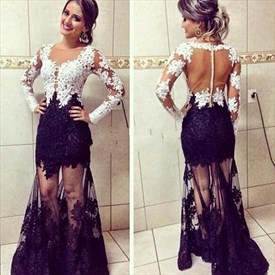 Princess Long Sleeve Illusion Back Tulle Prom Gown With Lace Applique