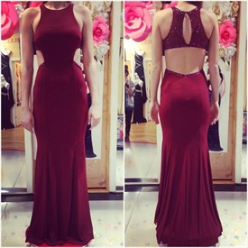 Burgundy Jewel Neck Sleeveless Beaded Cut Out Chiffon Prom Dress