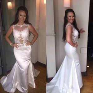 White Jewel Neck Applique Sheath Taffeta Long Prom Dress With Train