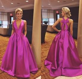 Fuchsia A Line V Neck Sleeveless Prom Dress With Pockets And Bow