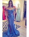 Blue Off The Shoulder Pleated Taffeta Prom Dress With Split And Train