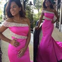 Hot Pink Strapless One Sleeve Beaded Mermaid Prom Dress With Train