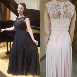 A Line Black Jewel Neck Sleeveless Applique Beaded Chiffon Prom Dress