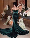 Teal Sweetheart Sleeveless Velvet Mermaid Prom Dress With Sweep Train