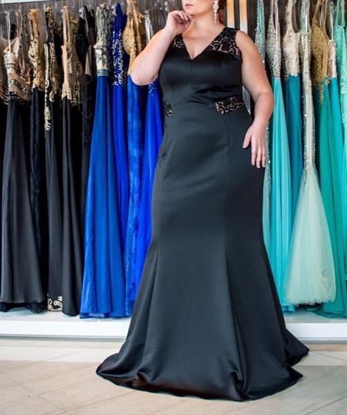 Black V Neck Sleeveless Keyhole Sheath Satin Plus Size Prom Dress