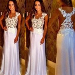 Princess Blush Pink Jewel Neck Applique Prom Dress With Illusion Back