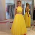 A Line Yellow High Neck Sleeveless Keyhole Tulle Two Piece Prom Dress