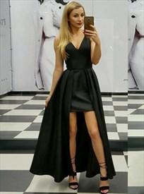 Elegant A Line Black V Neck Pleated Satin High Low Prom Dress