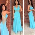 Light Blue V-Neck Sleeveless Backless Crystal Chiffon Prom Dress