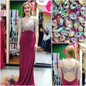 Spaghetti Strap Beaded Sleeveless Keyhole Long Chiffon Prom Dress