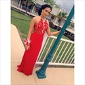 A Line Red Halter Neck Sleeveless Applique Long Chiffon Prom Dress