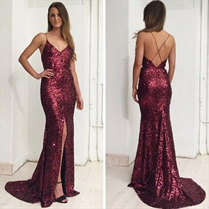 Maroon Spaghetti Strap Cross Back Beaded Sequin Prom Dress With Split