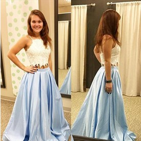 Light Blue Square Neck Sleeveless Lace Top Satin Two Piece Prom Dress