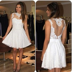 A Line White High Neck Applique Short Prom Dress With Illusion Back