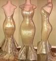 Spaghetti Strap Sweetheart Sleeveless Mermaid Prom Dress Ruffles