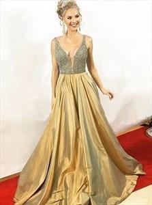 A Line Gold V Neck Beaded Floor Length Taffeta Prom Dress