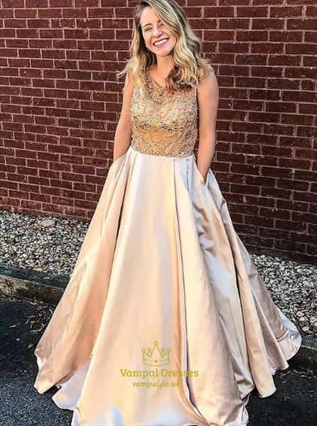 Champagne A Line Jewel Neck Beaded Satin Prom Dresses With Pockets