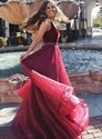 Burgundy V Neck Sleeveless Beaded Floor Length Organza Prom Dress