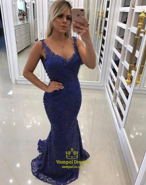 Elegant Royal Blue Sleeveless Beaded Sheath Lace Mermaid Prom Dress