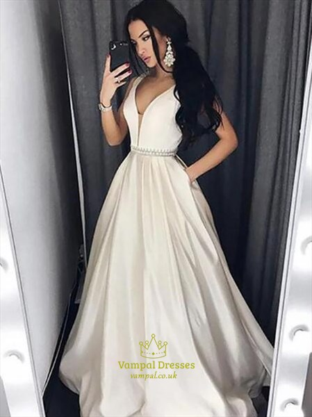 A Line Ivory V Neck Beaded Floor Length Satin Prom Dress With Pockets