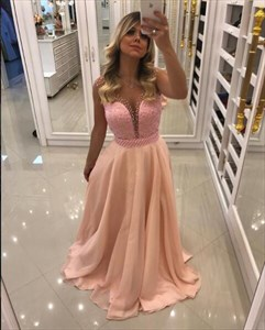 Princess Blush Pink V Neck Cap Sleeve Beaded Chiffon Prom Dress