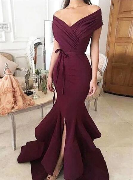 Burgundy Ruched Cap Sleeve Floor Length Mermaid Prom Dress With Split