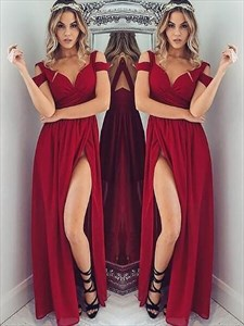A Line Red V Neck Cap Sleeve Ruched Chiffon Prom Dress With Split