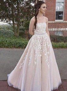 Blush Pink Strapless Sleeveless Applique Prom Dress With Beaded Waist
