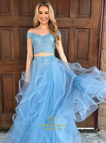 Off The Shoulder Lace Applique Two Piece Long Prom Dress With Ruffled