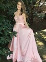 A Line Pink Deep V Neck Sleeveless Floor Length Satin Prom Dress