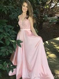A Line Pink Deep V Neck Sleeveless Floor Length Satin Prom Dress