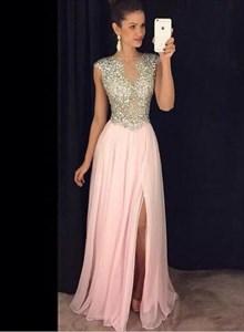 Pink Bateau Beaded Bodice Sleeveless Long Prom Dress With Split