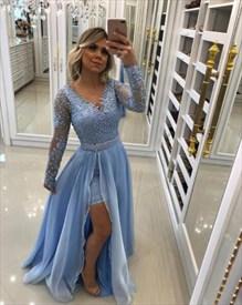 Light Blue V Neck Long Sleeve Beaded Prom Dress With Chiffon Skirt