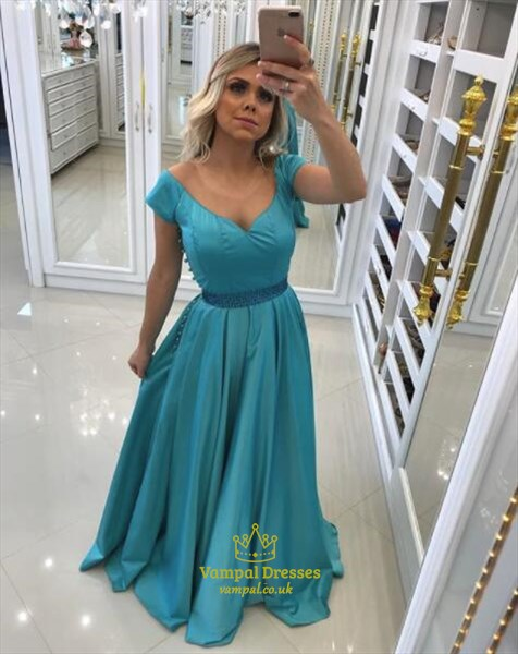 A Line Aqua Blue V Neck Short Sleeve Beaded Floor Length Prom Dresses