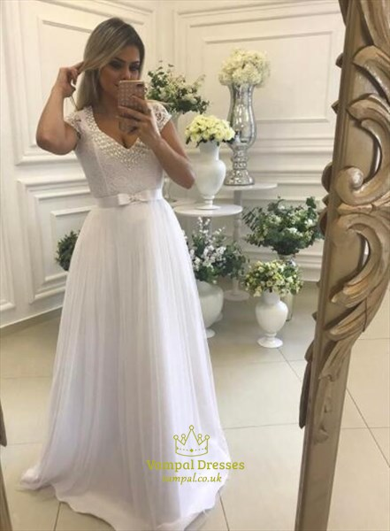 White Beaded V Neck Cap Sleeve Tulle Floor Length Prom Dress With Bow