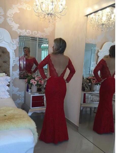 Bateau Beaded Long Sleeve Column Floor Length Lace Prom Dresses