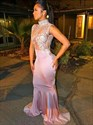 Pink High Neck Sleeveless Beaded Applique Sheath Mermaid Prom Dress