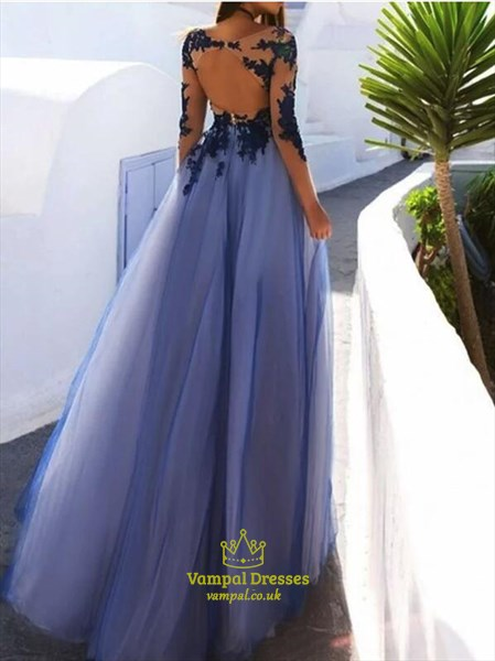 A Line Bateau Neck Long Sleeve Applique Keyhole Back Tulle Prom Dress