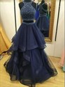 Halter Neck Beaded Sleeveless Two Piece Prom Dress With Tiered Ruffle