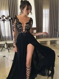 Princess Black Bateau Long Sleeve Applique Prom Dress With Split