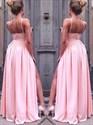 Pink Spaghetti Strap Sleeveless Ruched Chiffon Prom Dress With Split