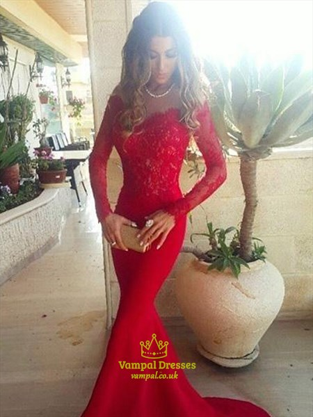 Red Off The Shoulder Long Sleeve Applique Satin Mermaid Prom Dress