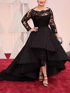 Elegant Black Bateau Neck Long Sleeve Applique High Low Prom Dress