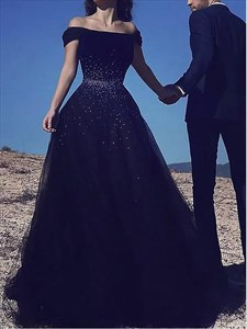 A Line Black Off The Shoulder Cap Sleeve Beaded Tulle Prom Dress