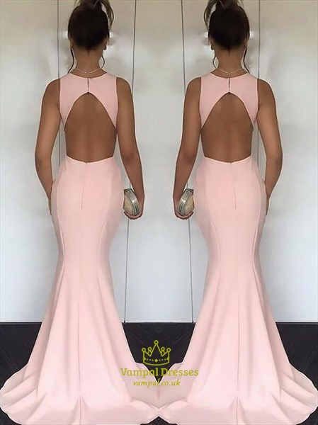 Simple Pink Jewel Neck Sleeveless Cutout Mermaid Satin Prom Dress