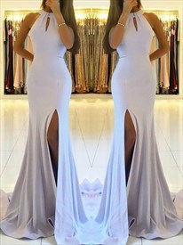Halter Neck Sleeveless Open Back Sheath Mermaid Prom Dress With Slits