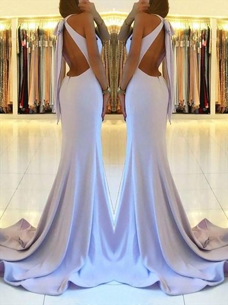 Halter Neck Sleeveless Open Back Sheath Mermaid Prom Dress With Slits