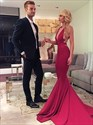 Red Deep V Neck Sleeveless Cut Out Mermaid Prom Dress With Train